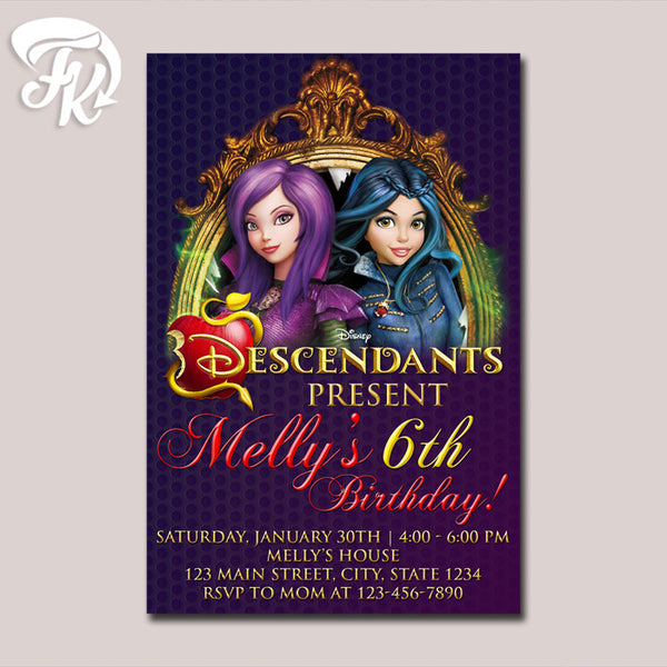Descendants Invitations Birthday Party Card Digital Invitation