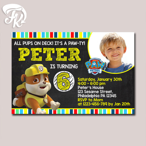 PAW Patrol - Rubble Chalkboard Invitation Birthday Party Card Digital Invitation