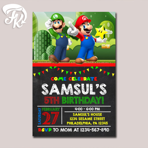 Super Mario Brothers Invitation Chalkboard  Birthday Party Card Digital Invitation