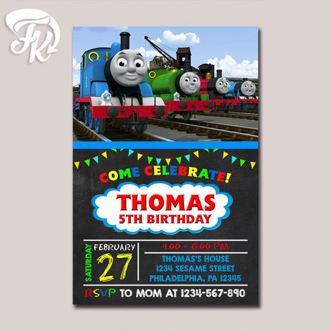 Thomas The Train Invitation Chalkboard Birthday Party Card Digital Invitation