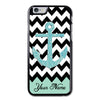 Personalized Blue Glitter Anchor Chevron iPhone 6 Case