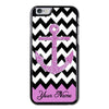 Personalized Purple Glitter Anchor Chevron iPhone 6 Case