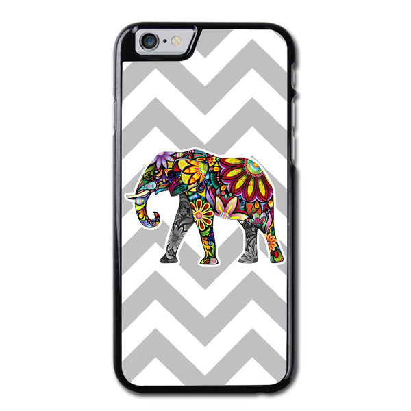 Elephant Art On Gray Chevron Phonecase For iPhone 6/6S Case