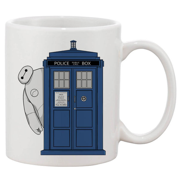 Baymax Hidden Tardis Door White 11 oz. Printing Ceramic Coffee Mug