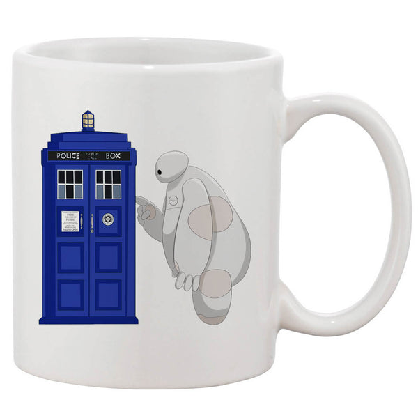 Police Box And Baymax White 11 oz. Printing Ceramic Coffee Mug