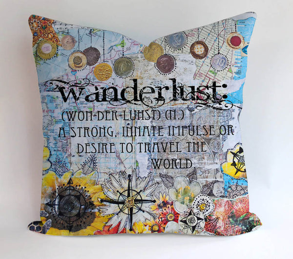 Travel Map Collection Pillowcases Pillow Cases Covers Square Design Home Decoration