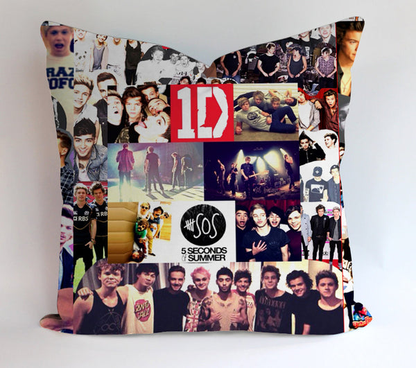 One Direction And 5Sos Collage Pillow Cases Covers Design Home Decoration