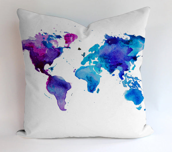 Watercolor World Map  Pillowcases Pillow Cases Covers Square Design Home Decoration