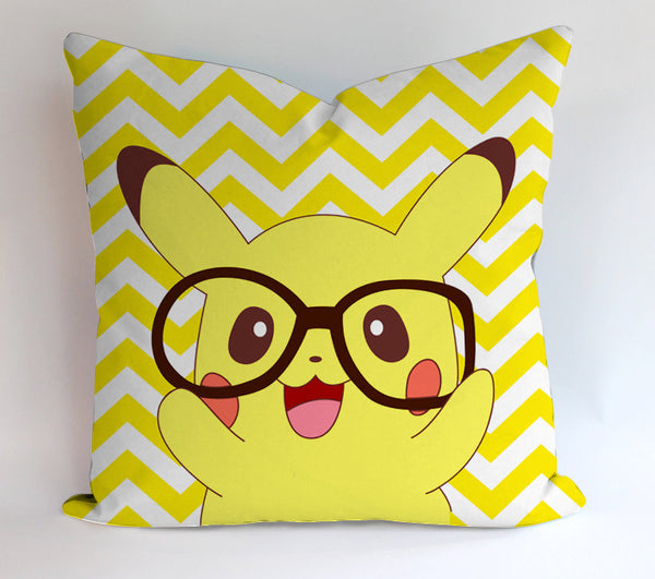 Pikachu Chevron Glasses Pillowcases Pillow Cases Covers Square Design Home Decoration
