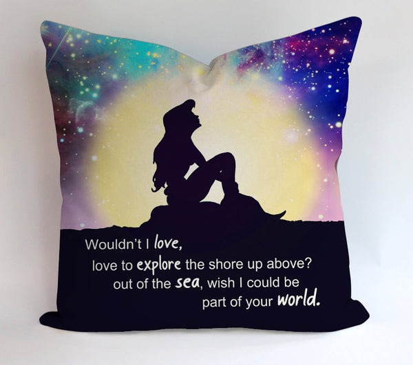 Little Mermaid Galaxy Quote Pillowcases Pillow Cases Covers Square Design Home Decoration