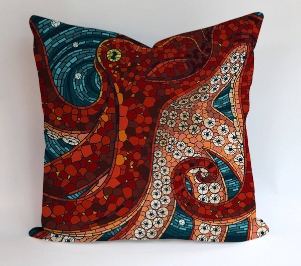 Octopus Mozaic Design Pillowcases Pillow Cases Covers Square Design Home Decoration