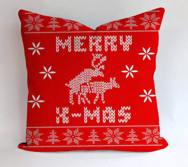 Merry X Mass Deer Ugly Pattern Pillowcases Pillow Cases Covers Square Design Home Decoration
