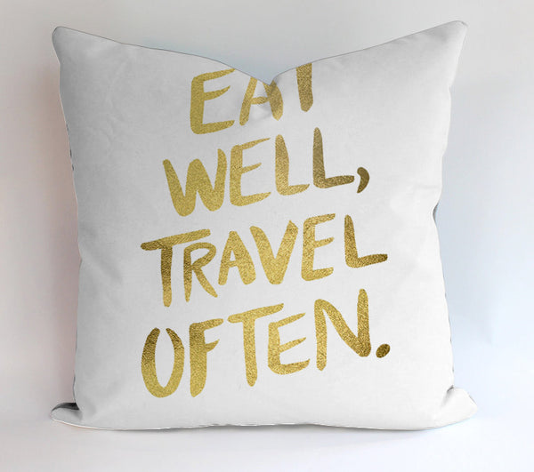 Eat Well Travel Often Gold Pillowcases Pillow Cases Covers Square Design Home Decoration