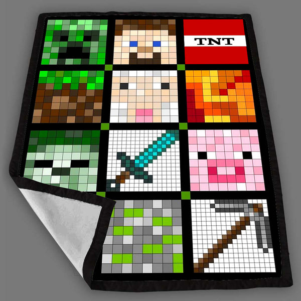 Minecraft Square Quilty Face Blanket Fleece Design Bedding Quilt Throw Blankets