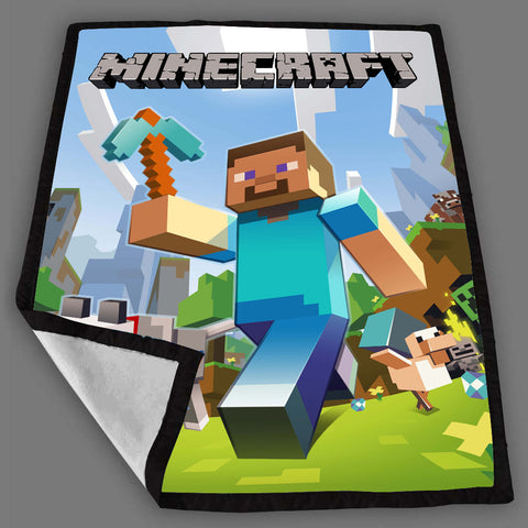 Minecraft Walking Design Fleece Blanket Design Bedding Quilt Throw Blankets