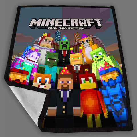 Minecraft Steve And Friend Celebration Fleece Blanket Design Bedding Quilt Throw Blankets