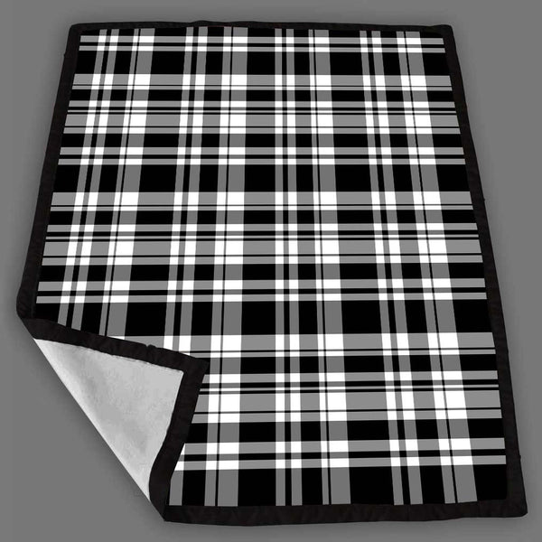 Black Stripe On Tartan Blanket Fleece Design Bedding Quilt Throw Blankets
