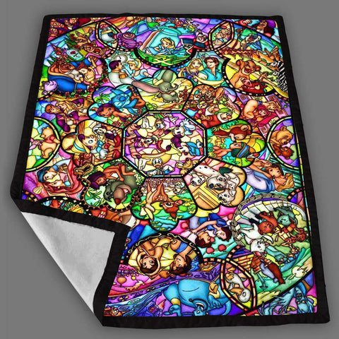 Disney Stained Glass Blanket Fleece Design Bedding Quilt Throw Blankets
