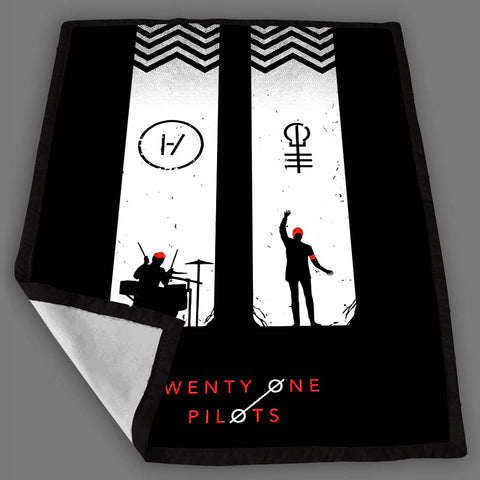 Twenty One Pilots White Chevron Blanket Fleece Design Bedding Quilt Throw Blankets