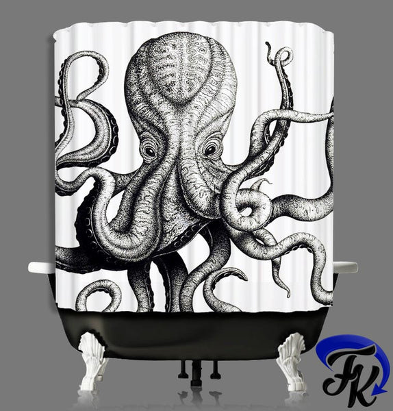 Octopus Inspired Design Shower Curtain and Liners  Modern Bathroom