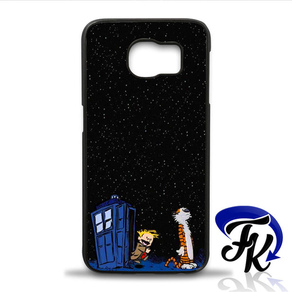 Calvin and Hobbes Dr Who Tardis Phonecase, Case, Cover Plastic and Rubber for Samsung iPhone and iPod Case