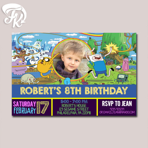 Adventure Time Birthday Party Card Digital Invitation With Photo