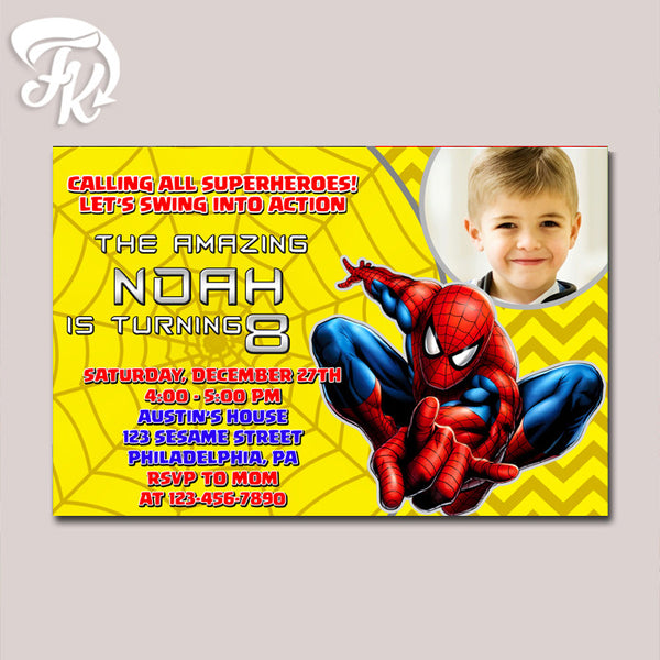 Amazing Spiderman Yellow Chevron Birthday Party Card Digital Invitation With Photo