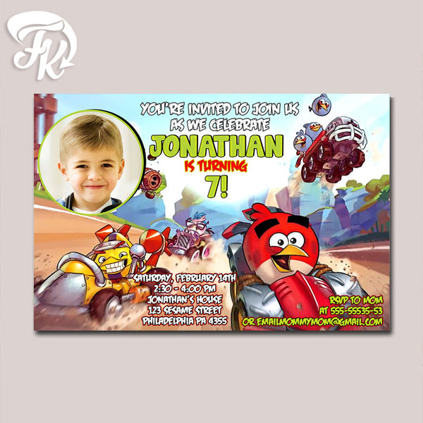 Angry Bird Race Inspired Birthday Party Card Digital Invitation With Photo