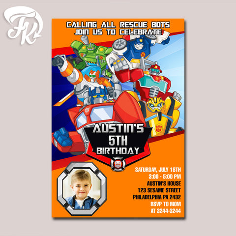 Autobots Rescue Rising Birthday Party Card Digital Invitation With Photo
