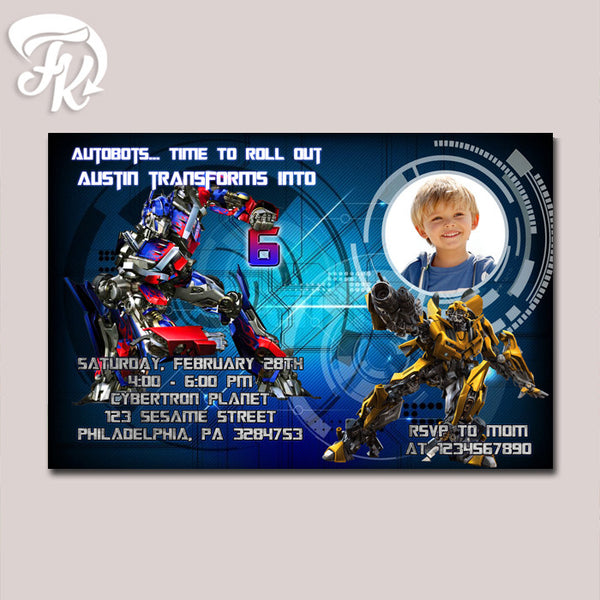 Autobots Transformer Optimus and Bumbblebee Birthday Party Card Digital Invitation With Photo