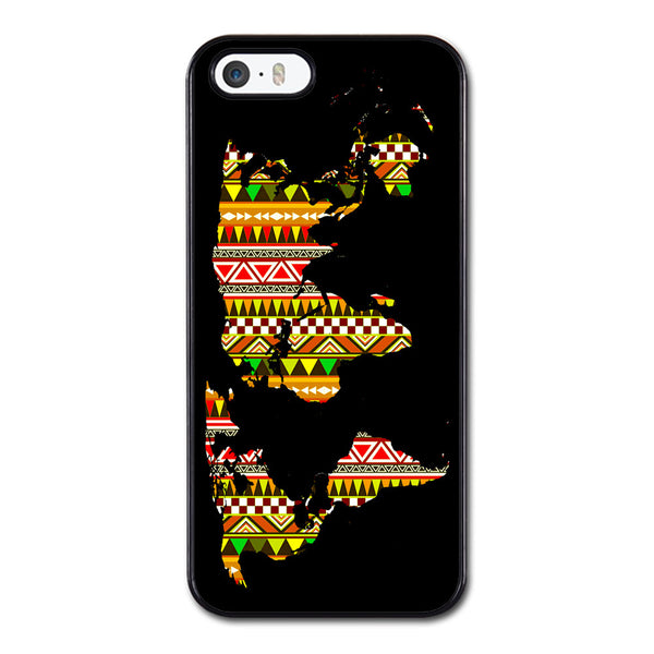 Aztec Pattern on World Map Phonecase for iPhone 5/5S Case