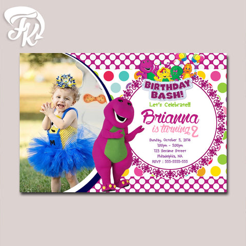 Barney Purple Monster Birthday Card Party Digital Invitation With Photo
