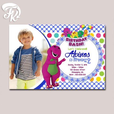 Barney Purple Monster Blue Birthday Card Party Digital Invitation With Photo