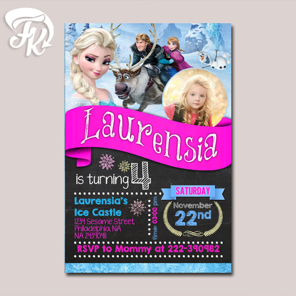 Birthday Elsa and Anna Frozen Birthday Party Card Digital Invitation With Photo