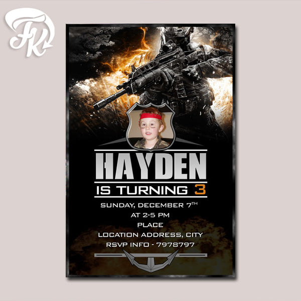 Black Ops COD Birthday Party Card Digital Invitation With Photo