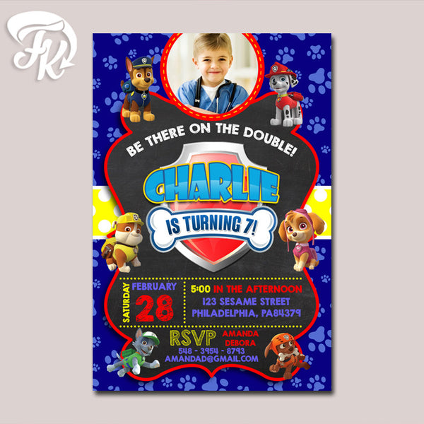 Blue PAW Patrol with Photo Inspired Birthday Party Card Digital Invitation With Photo