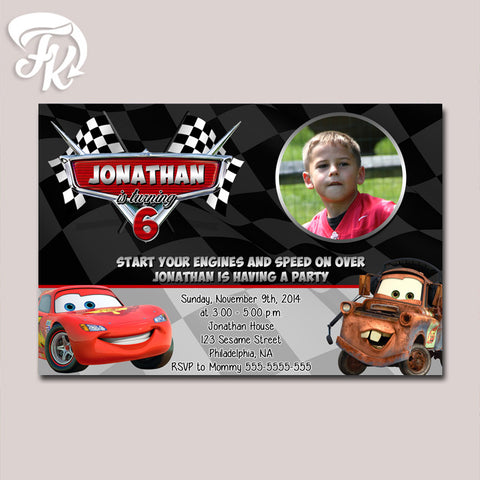 Cars Mcqueen and Mater Birthday Party Card Digital Invitation With Photo