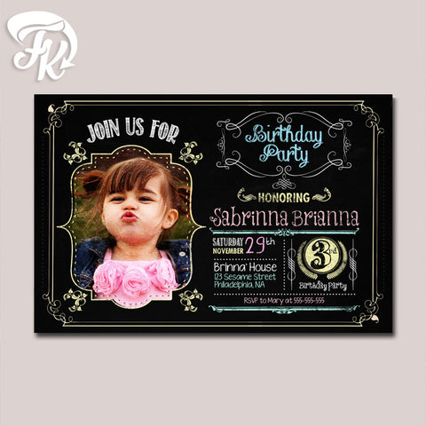 Chalboard Birthday Party Card Digital Invitation With Photo