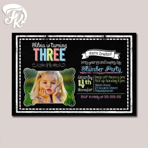 Chalboard Slumber Birthday Party Card Digital Invitation With Photo