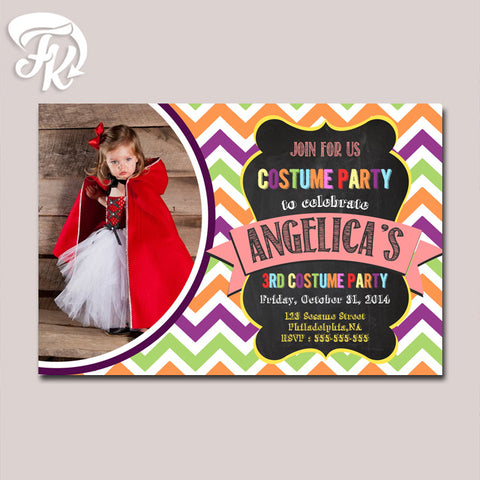 Chevron Costume Party Card Digital Invitation With Photo