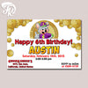 Chuck a Cheese Coin Inspired Birthday Party Card Digital Invitation