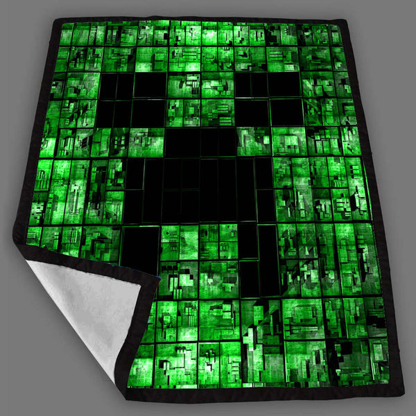 Creeper Face Minecraft Blanket Fleece Design Bedding Quilt Throw Blankets