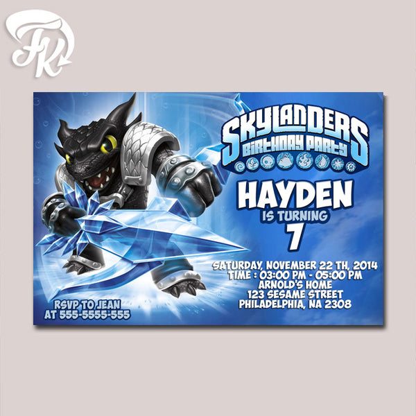 Dark Skylanders Snapshoot Water Birthday Party Card Digital Invitation