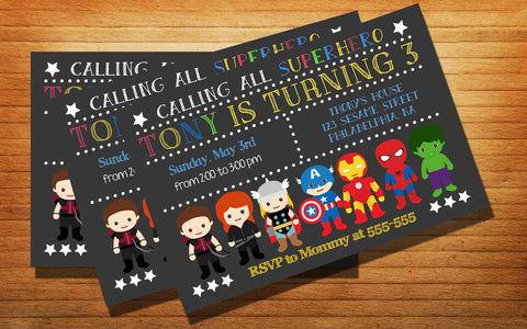 Chalkboard Avenger Superhero Party Birthday Party Card Digital Invitation
