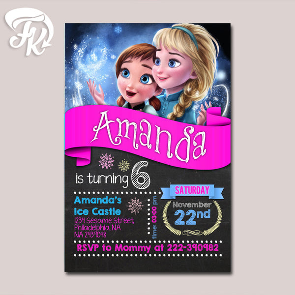 Elsa and Anna Frozen Party Birthday Card Digital Invitation