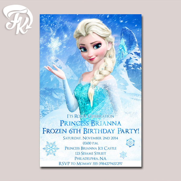 Frozen Disney Princess Elsa Birthday Party Card Digital Invitation