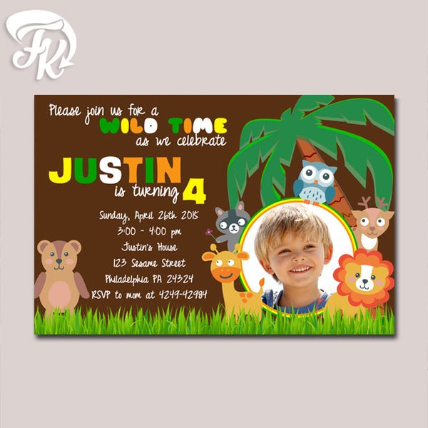 Jungle Safari Design Birthday Party Card Digital Invitation With Photo
