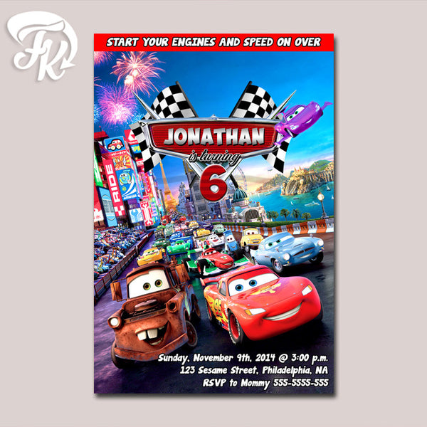Lightning mcQueen cars Birthday Party Card Digital Invitation