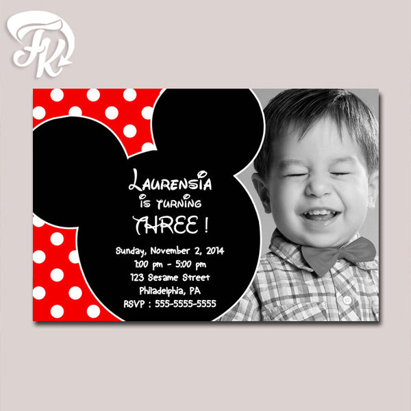 Mickey Mouse Baby Birthday Card Party Digital Invitation With Photo
