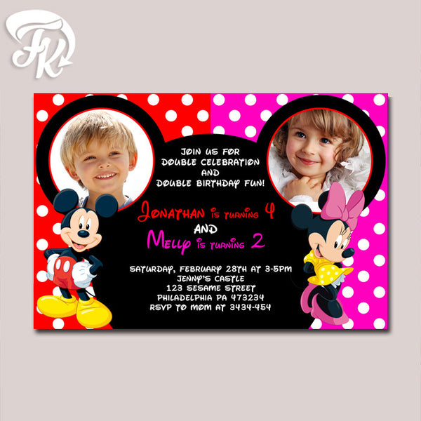 Mickey and Minnie Double Party Birthday Party Card Digital Invitation With Photo